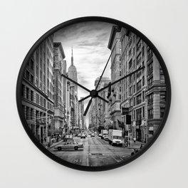 NEW YORK CITY 5th Avenue | Monochrome Wall Clock