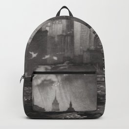 The Passing Storm, coastal cityscape skyline black and white portrait by Martin Lewis   Backpack