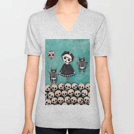 Day of the Dead Cats 9 Unisex V-Neck