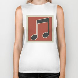 eighth note red Biker Tank