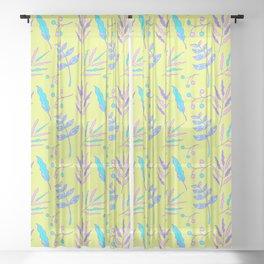 Summer Botanical Hand Drawn Pattern 1 Sheer Curtain