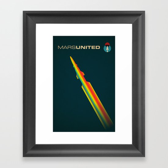 MarsUnited Rainbow Rocket Framed Art Print