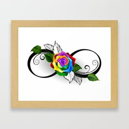 Infinity Symbol with Rainbow Rose Framed Art Print