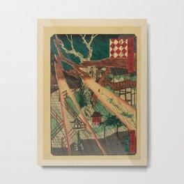 Utagawa Yoshitaki - 100 Views of Naniwa: Sankō Shrine (1880s) Metal Print