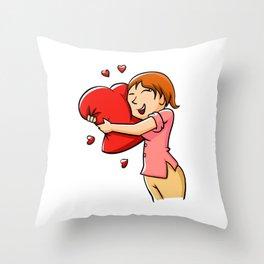 Girl hugging heart. Throw Pillow