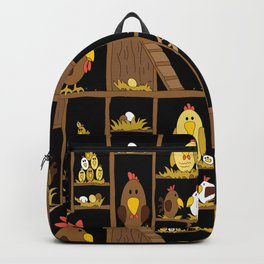 Chicken Coop - by Kara Peters - chickens, farm, illustration, birds Backpack