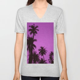 Tropical palm trees on blue pink Unisex V-Neck
