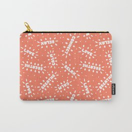 Positive Vibes on Coral Carry-All Pouch