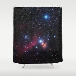Orion's belt in the winter sky, stars Alnitak, Alnilam, Mintaka, Horsehead Nebula, Orion Nebula Shower Curtain