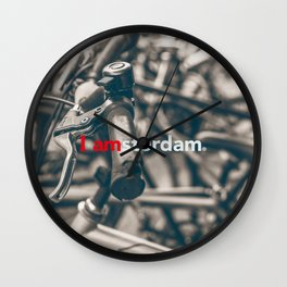 Amsterdam Bicycles photo with city logo. Wall Clock