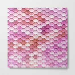 Multicolor pink mermaid glitter scales - Mermaidscales Metal Print