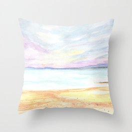 2019 Watercolor Sea Scape Series 004 Watercolor Painting Throw Pillow
