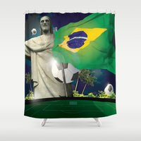 world cup Shower Curtains featuring Brazil World Cup by Maioriz Home