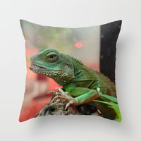 iggy Throw Pillows featuring Iggy by IowaShots