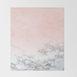 Blush Pink on White and Gray Marble III Throw Blanket