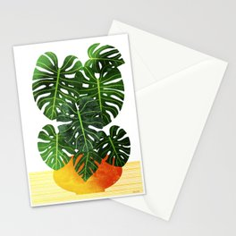 Monstera Swiss Cheese Plant In Mid Century Pot Stationery Cards