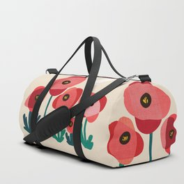 Poppy flowers and bird Duffle Bag