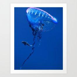 Fish and friend jellyfish Man O´War Art Print