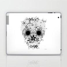 Skull Flowers grey - white Laptop & iPad Skin
