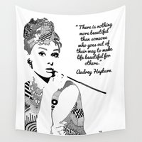 audrey hepburn Wall Tapestries featuring AUDREY HEPBURN by Rebecca Bear