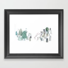Mountains and the city Framed Art Print