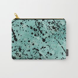 Modern abstract teal black watercolor paint splatters Carry-All Pouch