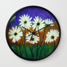 White daisies-Abstract Wall Clock