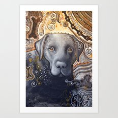 Rudy ... Abstract dog art, Black Labrador Art Print