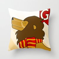 gryffindor Throw Pillows featuring Gryffindor Lion by makoshark