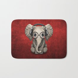 Cute Baby Elephant Dj Wearing Headphones and Glasses on Red Bath Mat