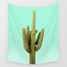 Cactus on Cyan Wall Wall Tapestry