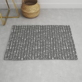 Ancient Japanese Calligraphy // Charcoal Rug