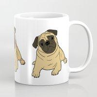 pug Mugs featuring PUG by Elena O'Neill