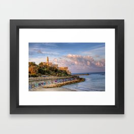 Graffiti on the old city wall of Jaffa, Israel Framed Art Print