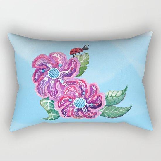 Contemplative Ladybug Rectangular Pillow