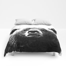 Black and white bear portrait Comforters