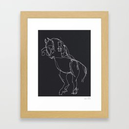 Horse (Prancing in Black) Framed Art Print