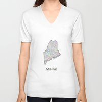 maine V-neck T-shirts featuring Maine map by David Zydd