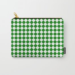 Small Diamonds - White and Green Carry-All Pouch