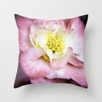beth hoeckel Throw Pillows featuring Beth March - Pink Begonia by Regina Mountjoy