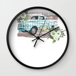 Vintage Trucks Vintage Blue Gingham Pickup Truck Wall Clock