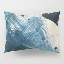 Against the Current [2]: A bold, minimal abstract acrylic piece in blue, white and gold Pillow Sham