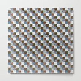 Rustic Brown Gray Blue Patchwork Metal Print
