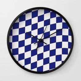 White & Navy Wavy Checkers Wall Clock
