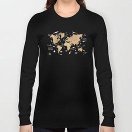 World Map Oceans Life blue #map #world Long Sleeve T-shirt