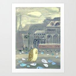 Mrs. Owl looks for Mr. Tern Art Print