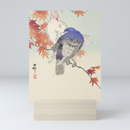 Two pigeons on the autumn branch Mini Art Print