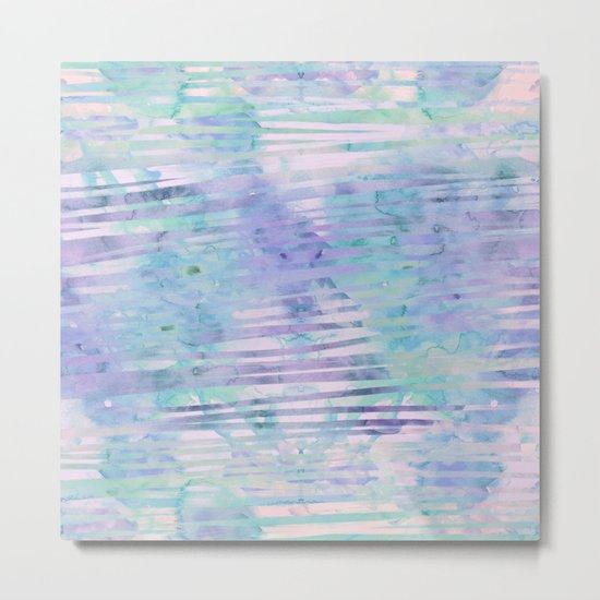 Modern hand drawn geometric stripes purple watercolor pattern Metal Print