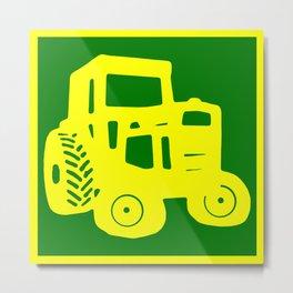 Yellow and Green Emblem Design Metal Print
