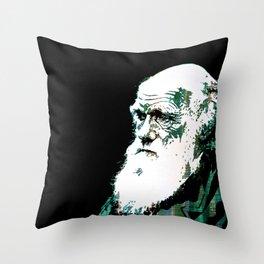 Portrait pop art Charles Darwin Throw Pillow